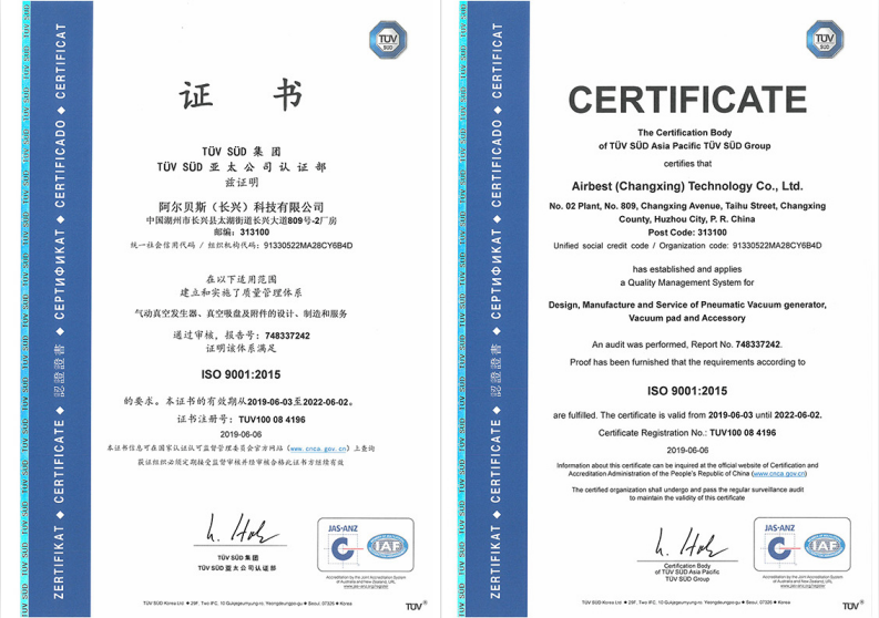 [2019-06-03]AIRBEST has successively passed ISO9001